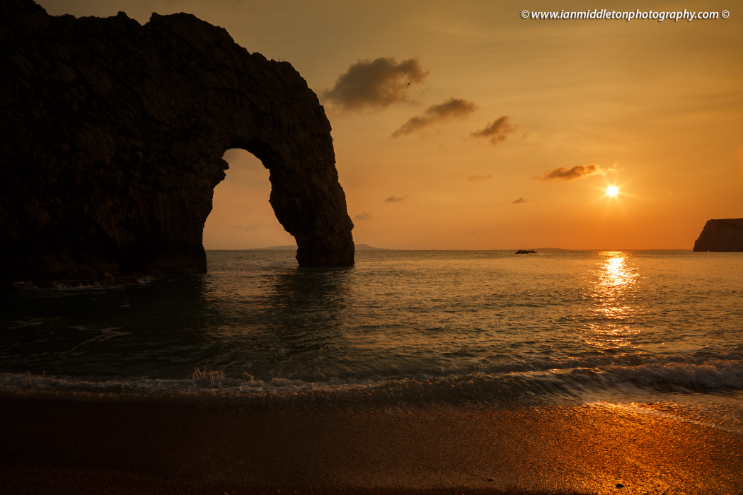 Durdle Door at sunset, Jurassic Coast, Dorset, UK