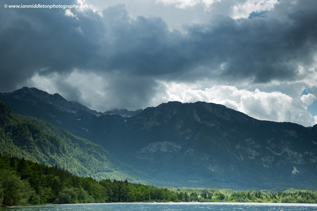 Julian Alps mountains beside Lake Bohinj, Triglav National Park, Slovenia.