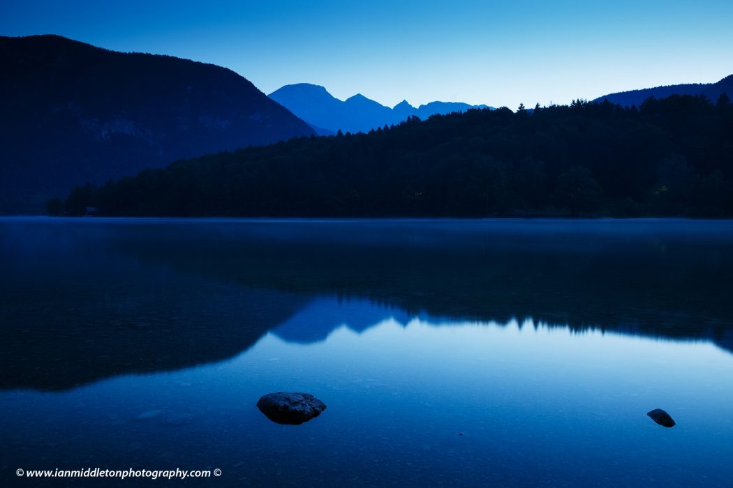 Dawn light over Lake Bohinj, Triglav National Park, Slovenia