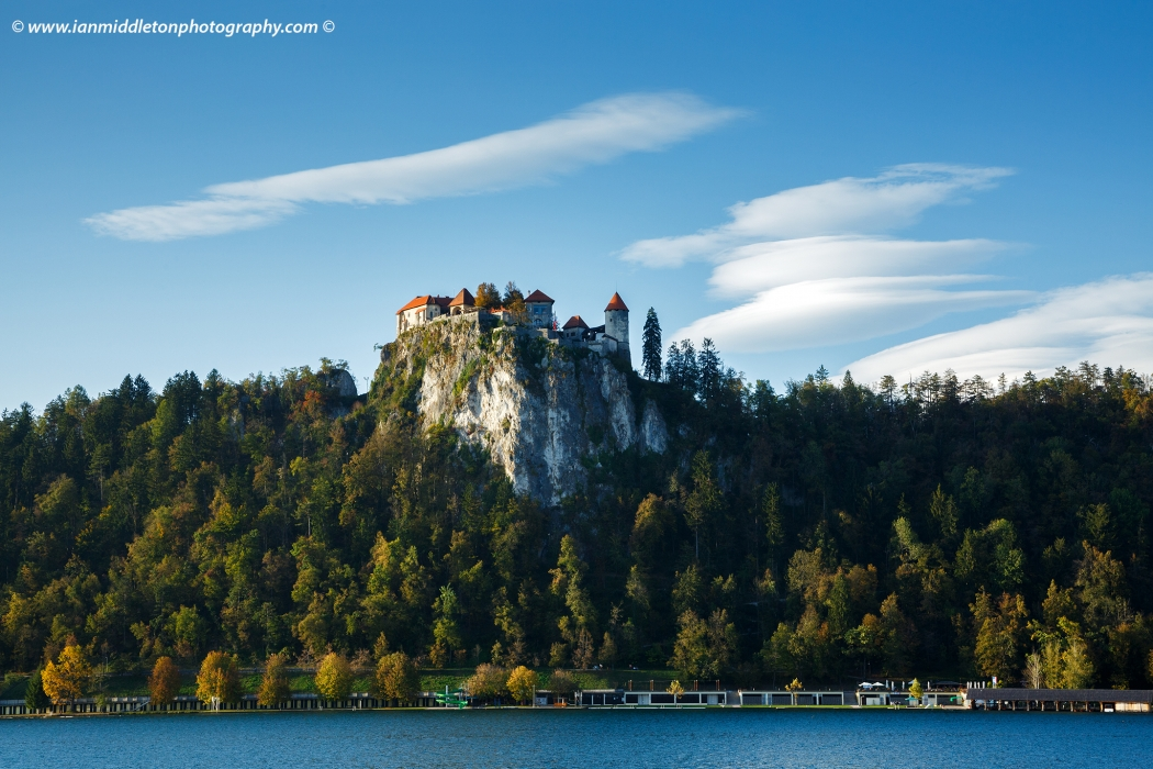 View across the beautiful Lake Bled to the hilltop castle