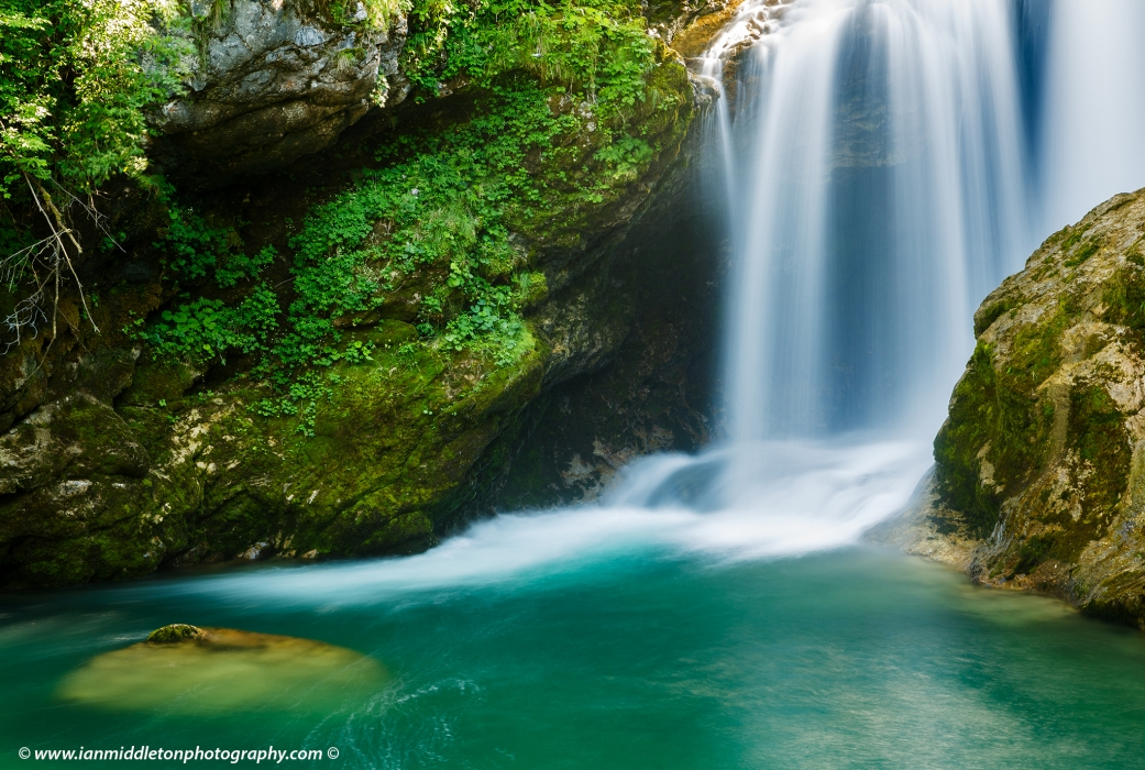 The 16 Metre high Sum Waterfall in Vintgar Gorge, near Bled, Slovenia.