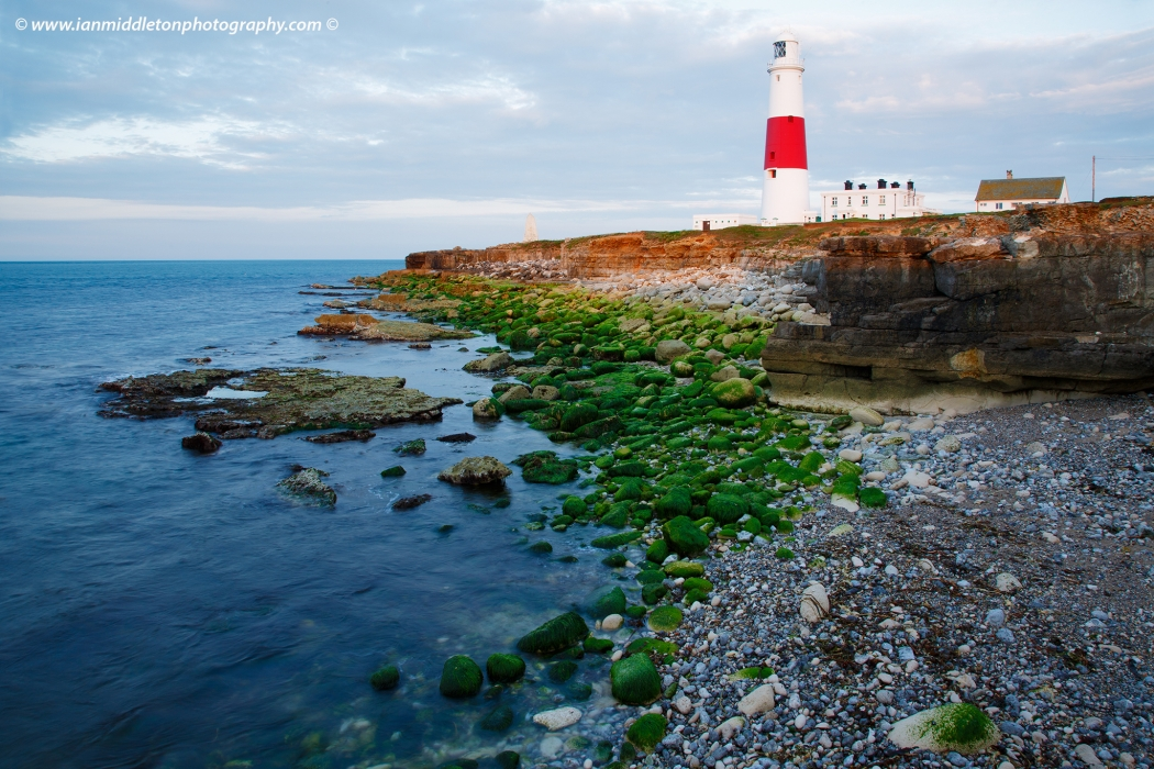 Lighthouse at Portland Bill in the early morning sun, near Weymouth, Jurassic Coast, Dorset, England.