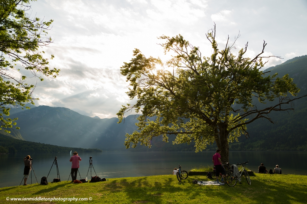 Beautiful light and clouds scattering over Bohinj Lake,Triglav National Park, Slovenia.